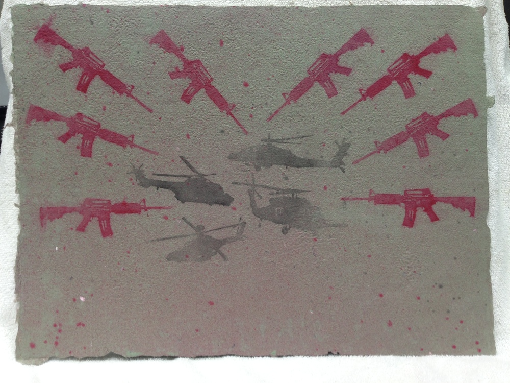 Sarah Mess Army - Somalia _Somalia_ 2013 Pulp Spray on Handmade Paper from military uniforms 15 x 20 IMG_1040JPG.jpg