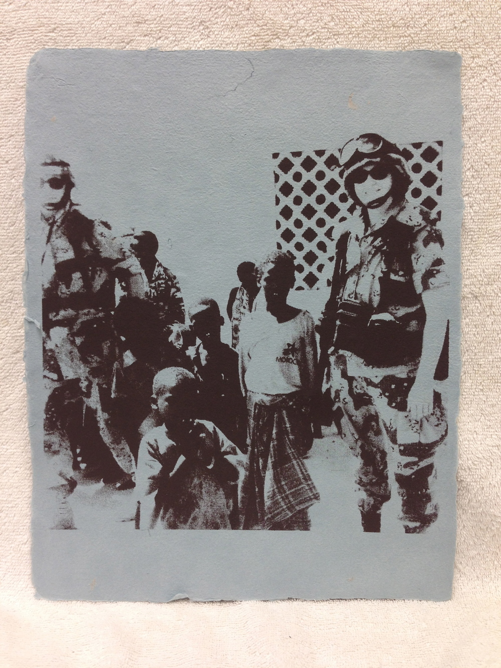 Sarah Mess Army - Somalia _The Only Peace-keeping I Ever Did_ 2012 Silkscreen on Handmade Paper from military uniforms 14 x 11 PCNJ Weekly Workshop IMG_1018.jpg