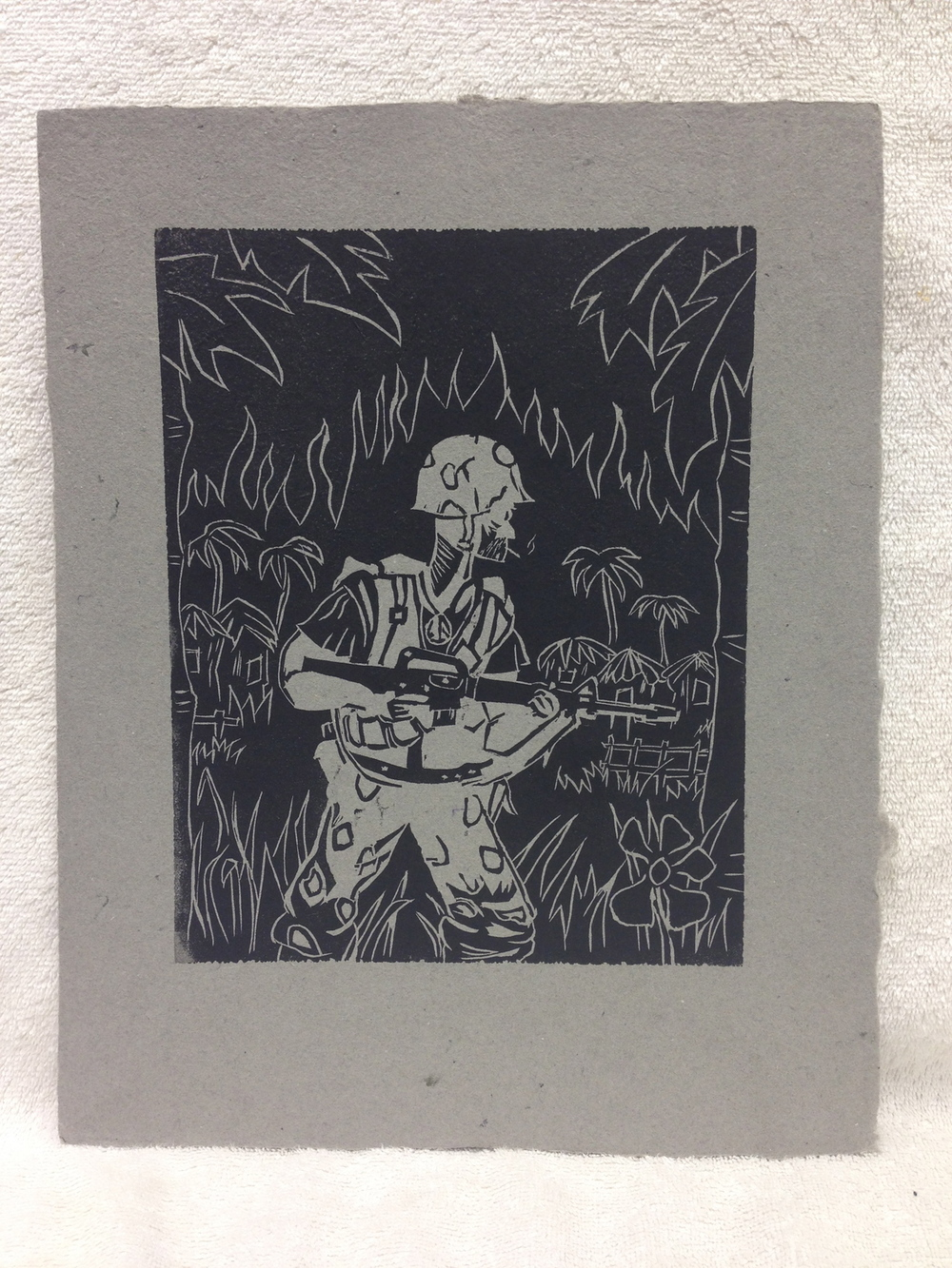 Walt Nygard Marines - Vietnam _Marine in Flames_ 2012 Lino-cut on Handmade Paper from military uniforms 14 x 11 IPCNJ Weekly Workshop MG_0934.jpg