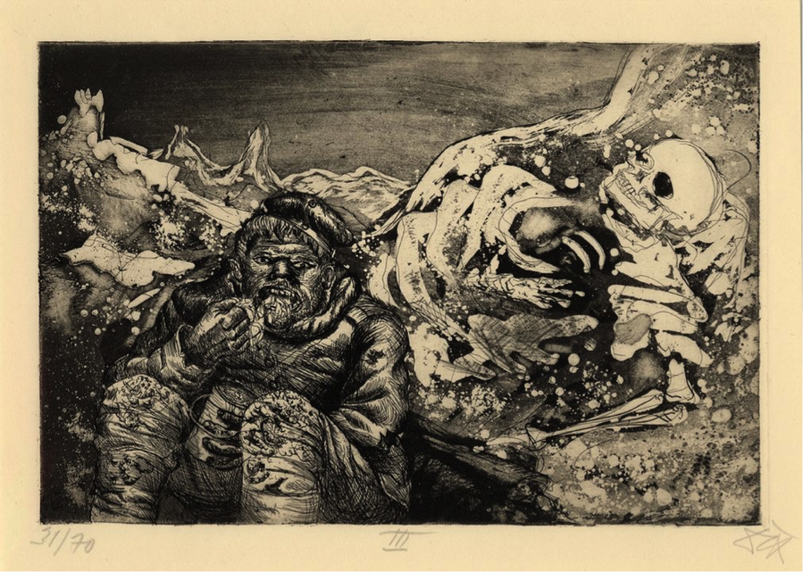 """Mealtime in the trenches"" by Otto Dix (Germany, 1924)"