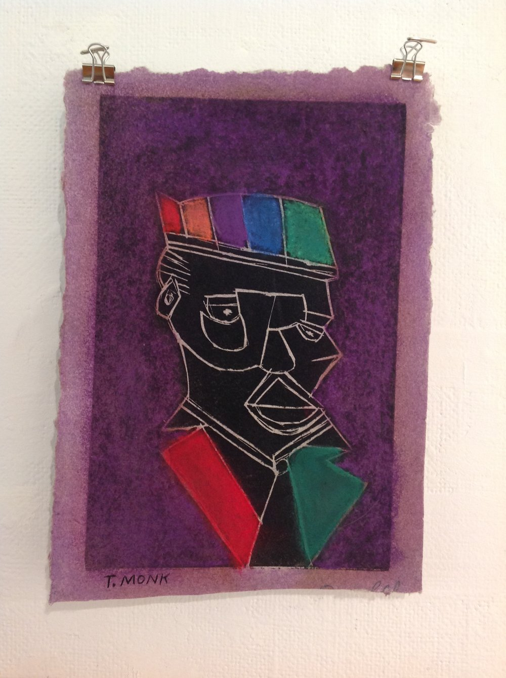 """T. Monk""    Jim Fallon,  2017    Acrylic, Linocut on handmade paper from military uniforms"