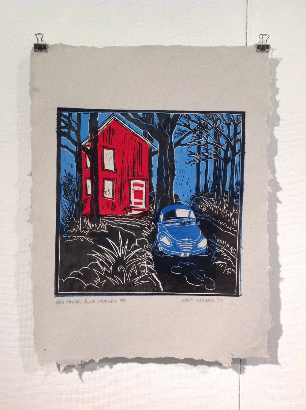 """Red House, Blue Cruiser""    Walt Nygard    Linocut on handmade paper from military uniforms"