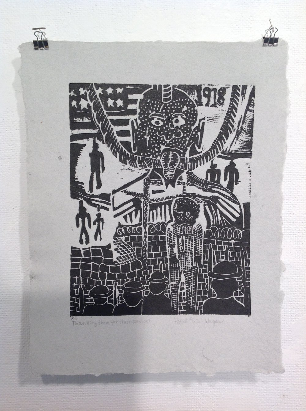 """Thanking Them For  Their Service""    Frank Wagner,  2018    Linocut on handmade paper from military uniforms"