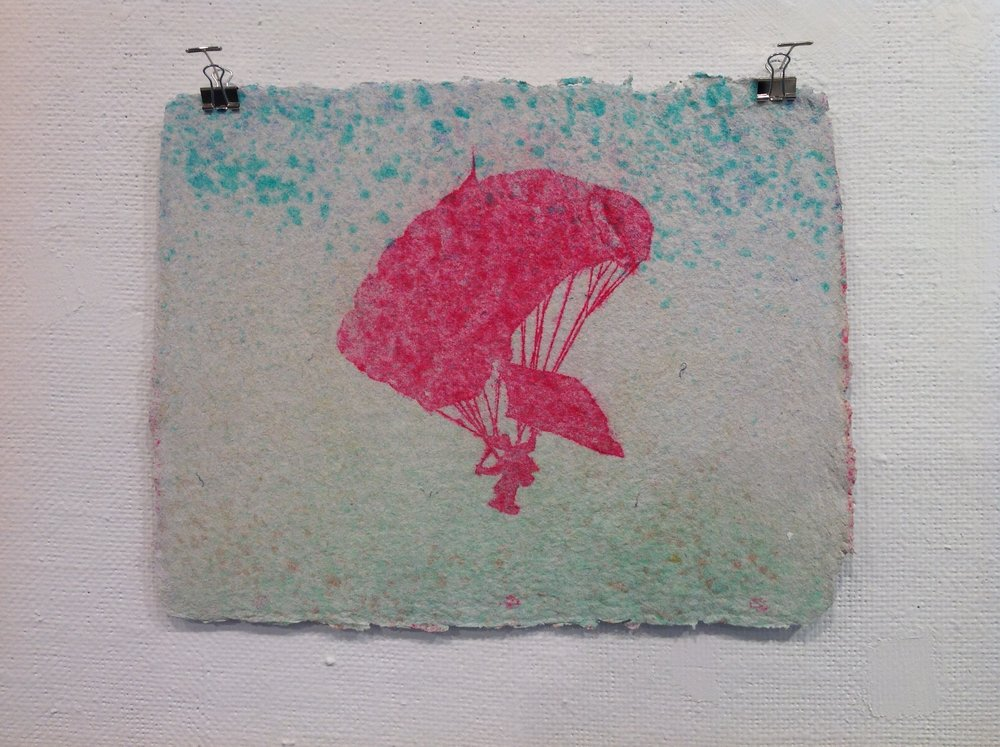 """Parachute""    Anonymous    Pulp Print on handmade paper from military uniforms"