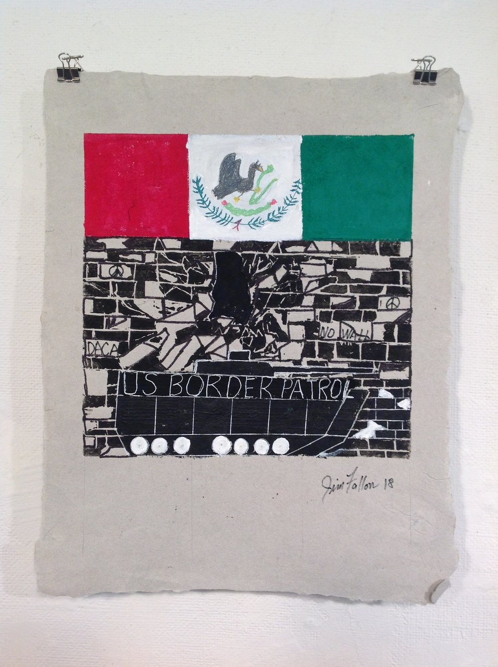 """Border Patrol""    Jim Fallon,  2018    Acrylic and Linocut on handmade paper from military uniforms"