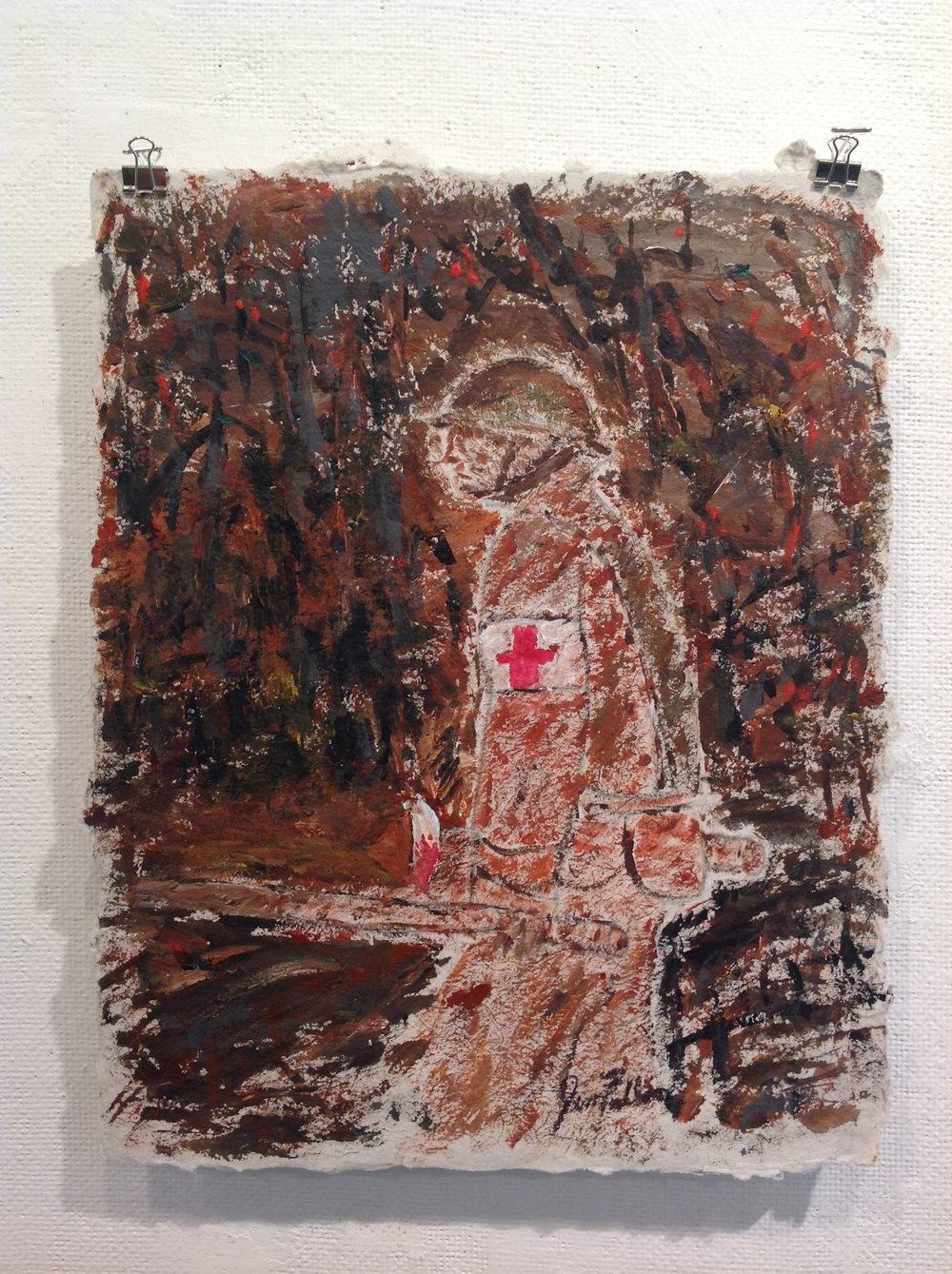 """Stretcher Bearer""    Jim Fallon,  2017    Acrylic and Graphite on handmade paper from military uniforms"