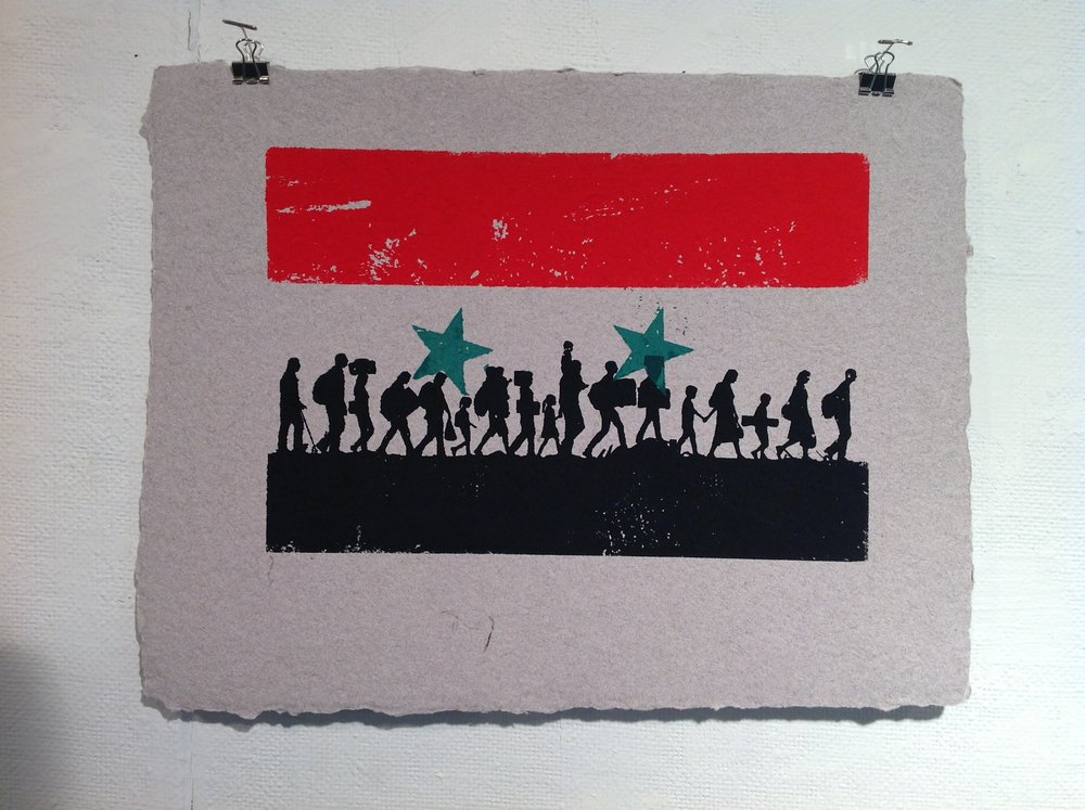 """Syria""    James Yee, 2018    Screen print on handmade paper from military uniforms"