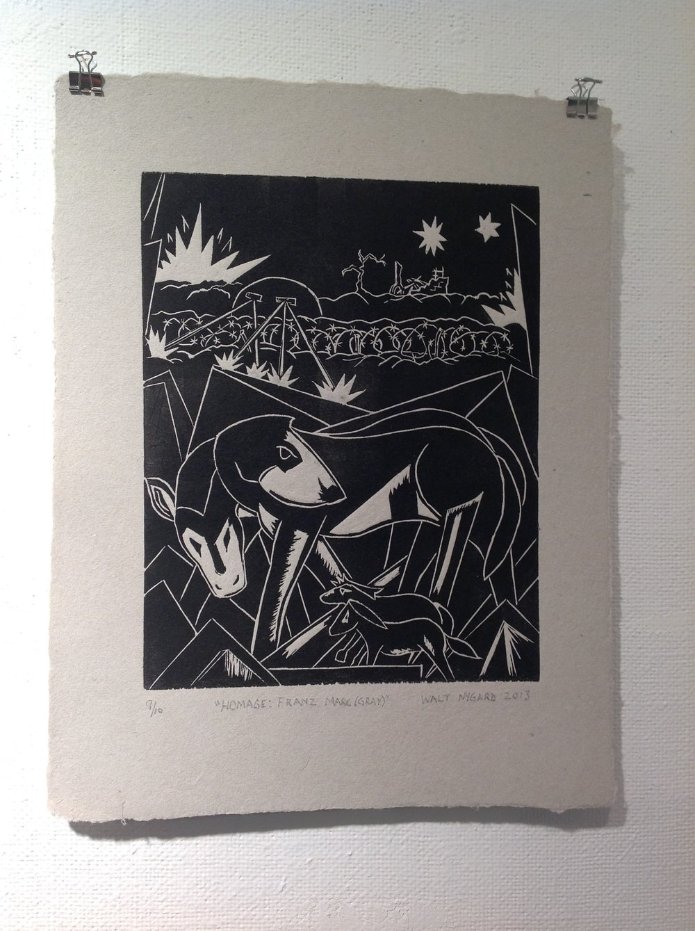 """Homage:  Franz Marc (Gray)""    Walt Nygard,  2013    Linocut on handmade paper from military uniforms"