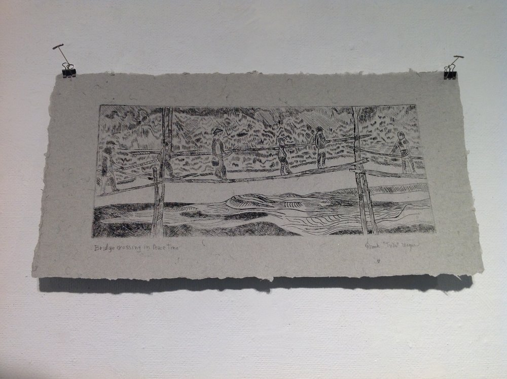 """Bridge Crossing in Peacetime""    Frank Wagner,  2013    Drypoint on handmade paper from military uniforms"