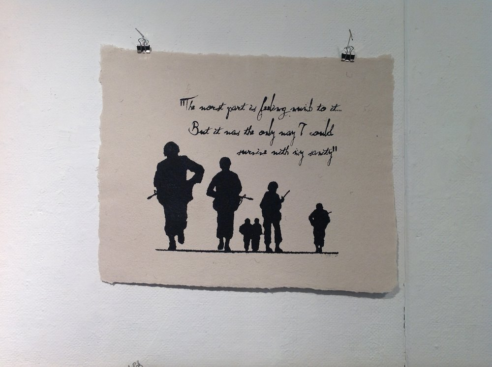 """The Worst Part""    Anonymous    Screen print on handmade paper from military uniforms"