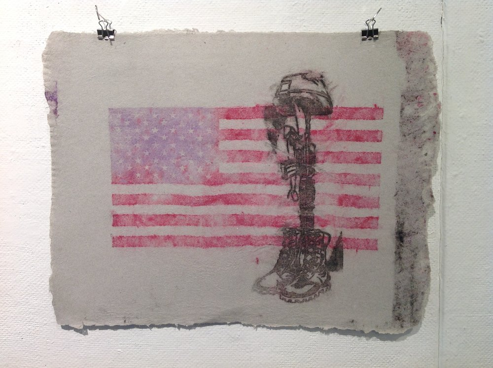 """Flag, Helmet, Boots""    Anonymous    Pulp Print on handmade paper from military uniforms"