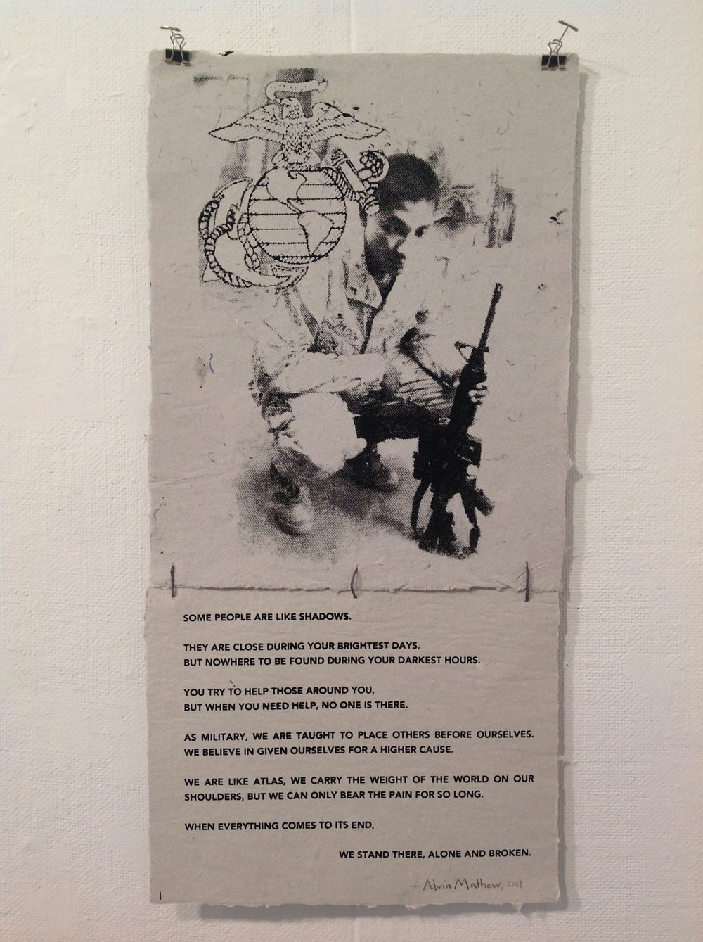 """Untitled""    Alvin Mathew,  2014    Screen Print on handmade paper from military uniforms"