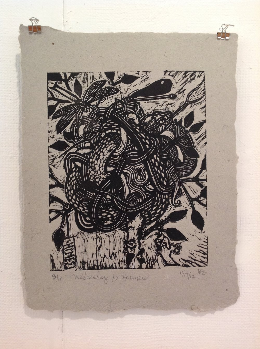 """Wednesday For Hermes""    Walter Zimmerman,  2012    Linocut on handmade paper from military uniforms"