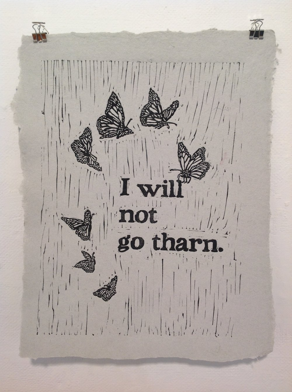 """I Will Not Go Tharn""    Tara Krause,  2018    Linocut on handmade paper from military uniforms"