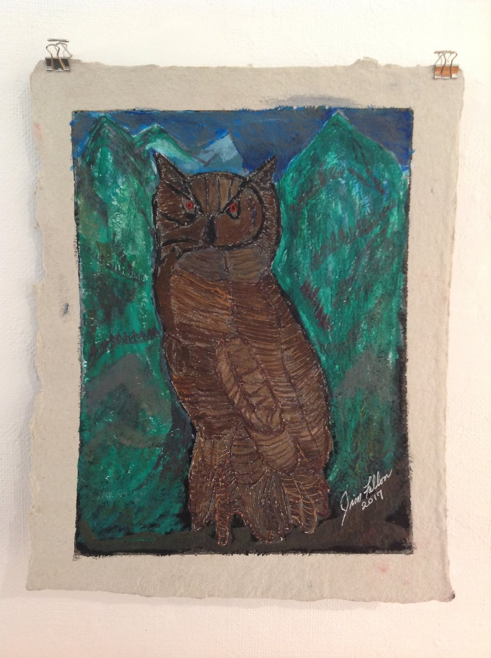 """Owl""    Jim Fallon,  2017    Acrylic on handmade paper from military uniforms"
