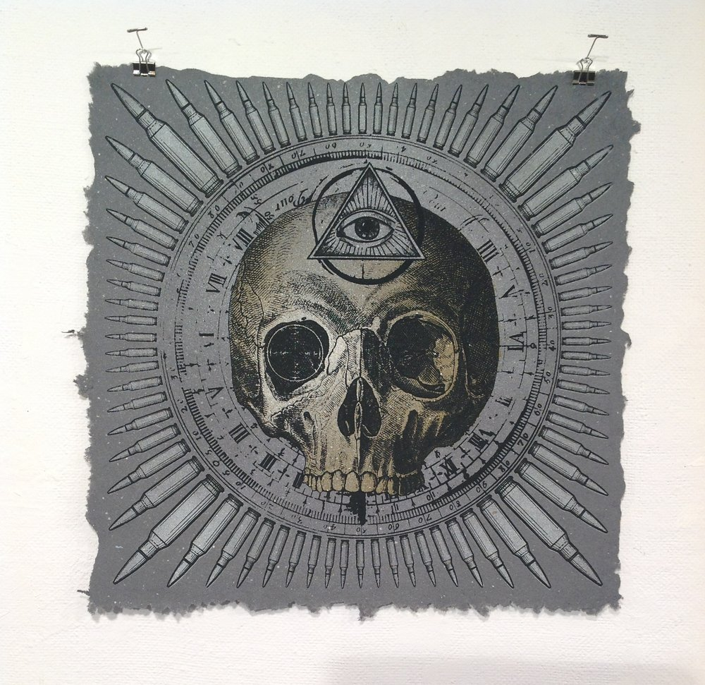 """War Mandala""    Eli Wright    Spraypaint and Screen Print on handmade paper w/ US currency"