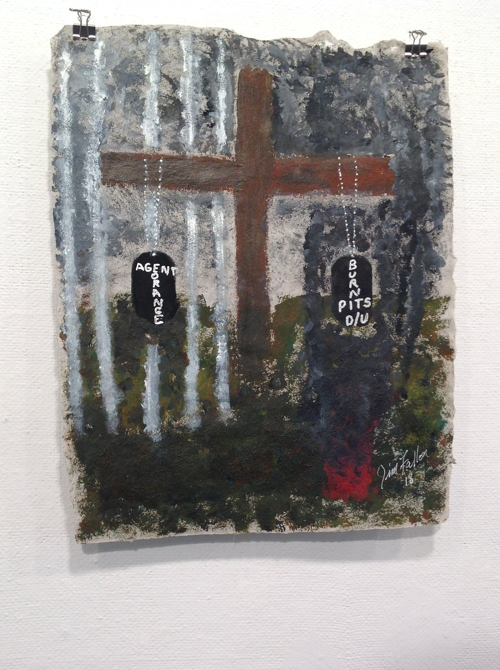 """Untitled""    Jim Fallon,  2018    Acrylic on handmade paper from military uniforms"