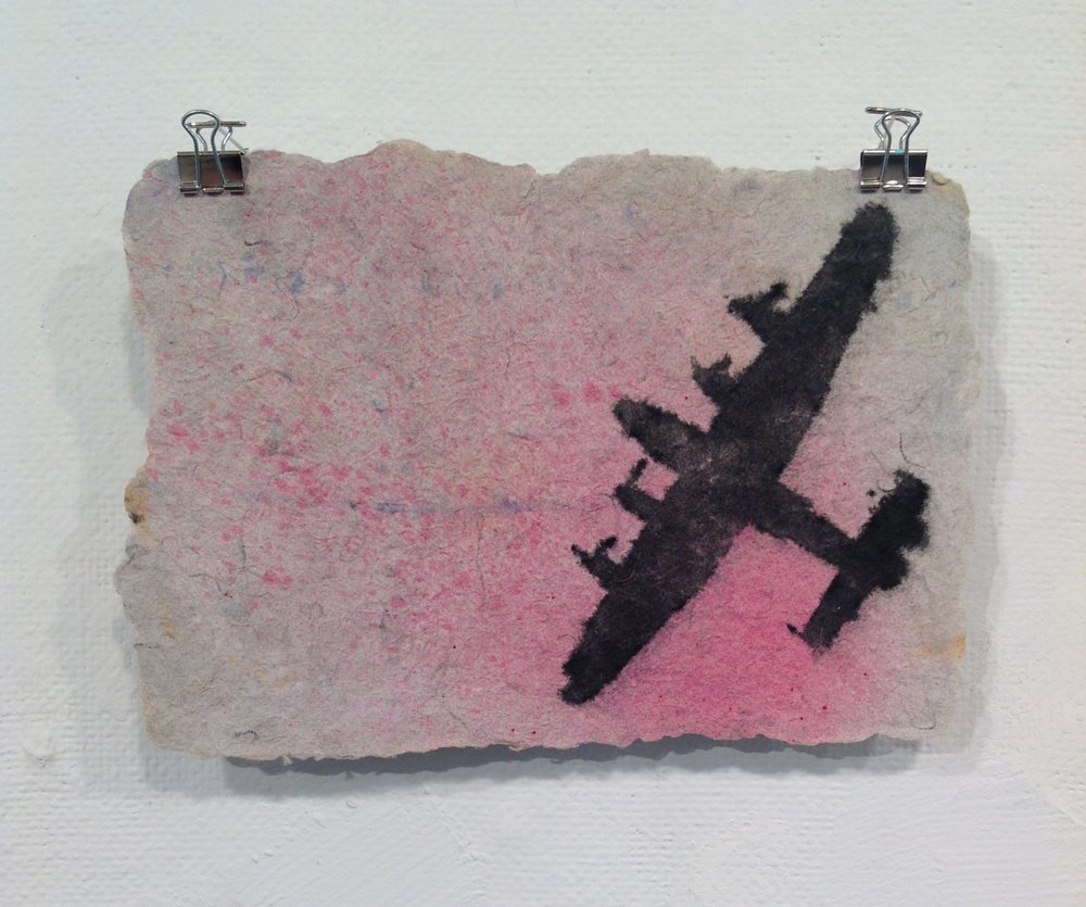 """Airplane""    Anonymous    Pulp Print on handmade paper from military uniforms"
