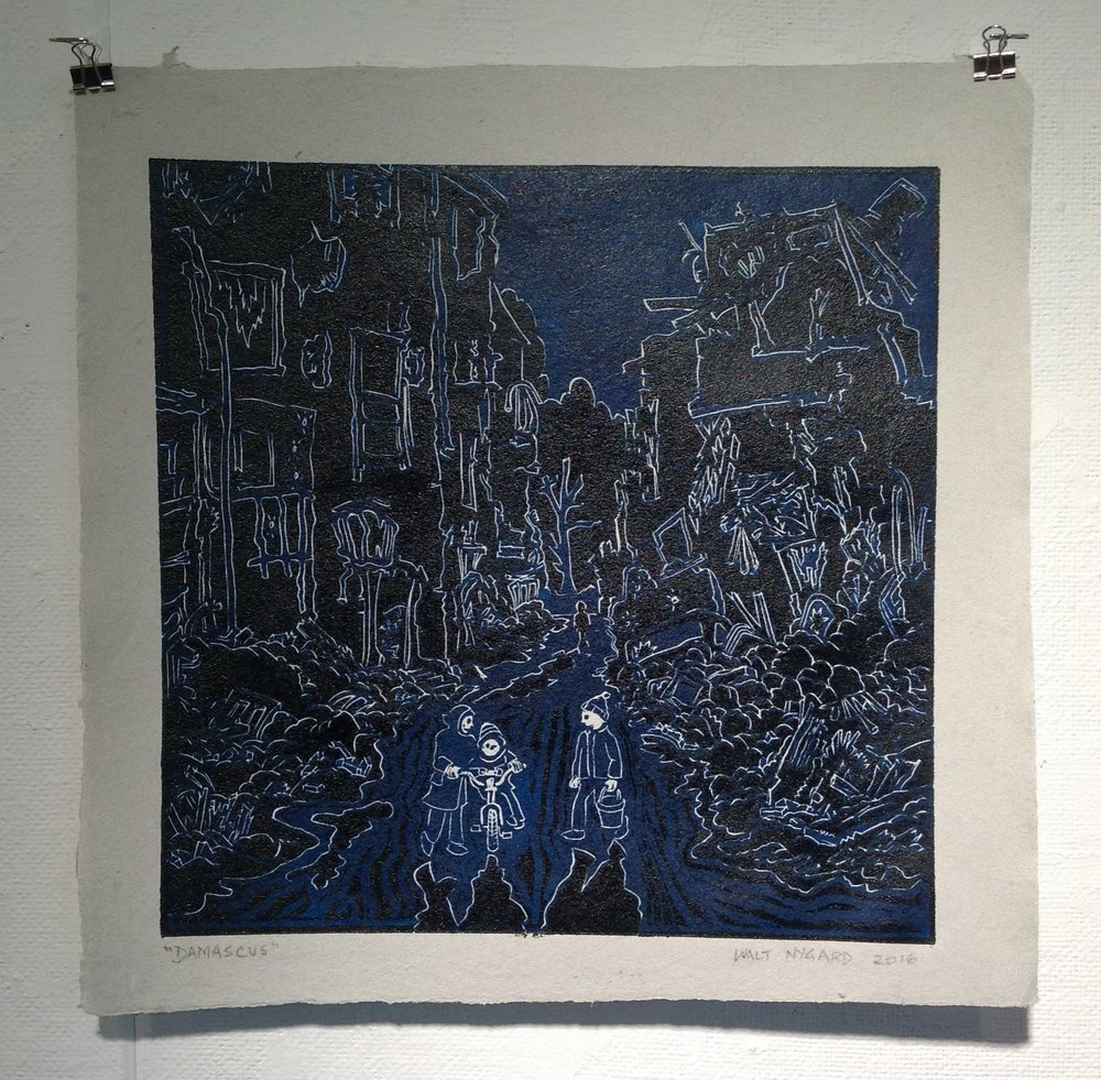 """Damascus""    Walt Nygard,  2016    Linocut on handmade paper from military uniforms"