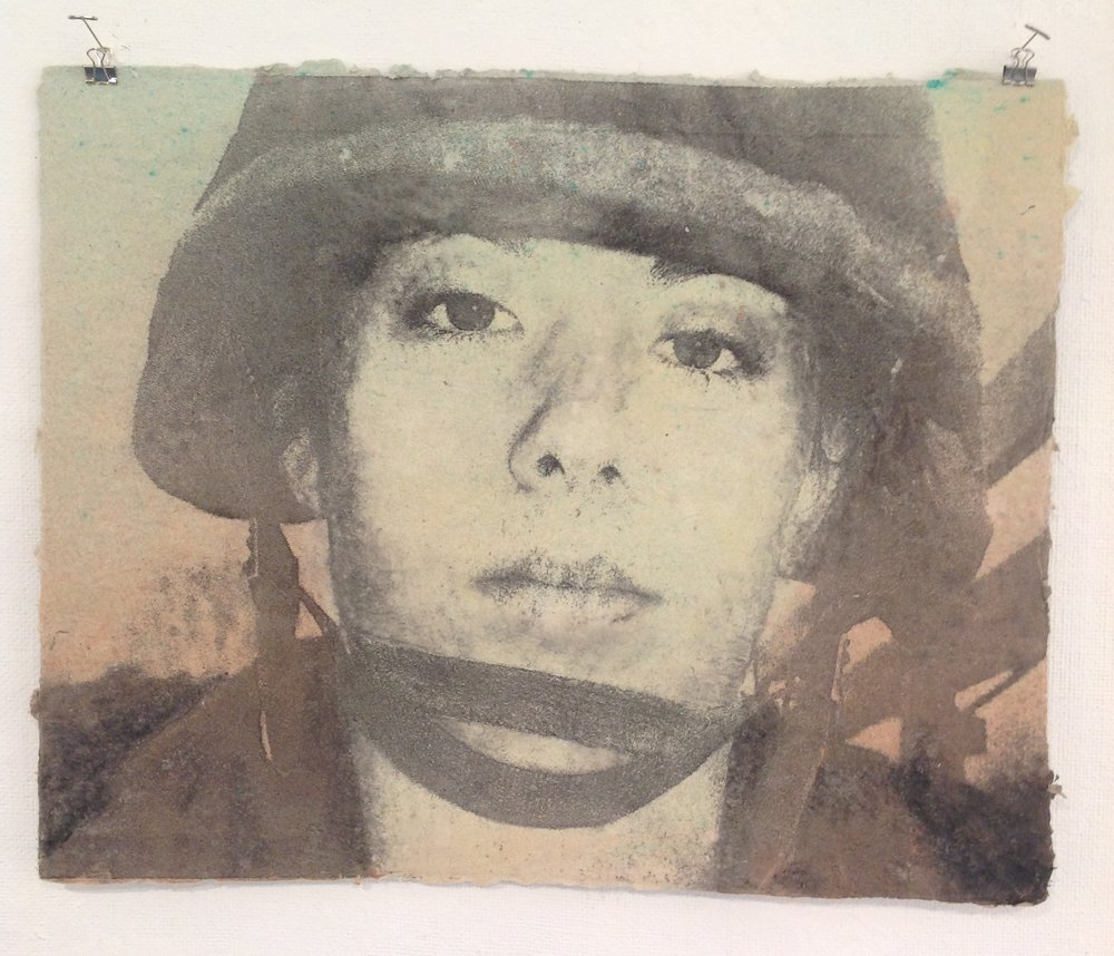 """For They Know Not What We Do""     Rachel McNeil,  2014    Pulp Print on handmade paper from military uniforms"