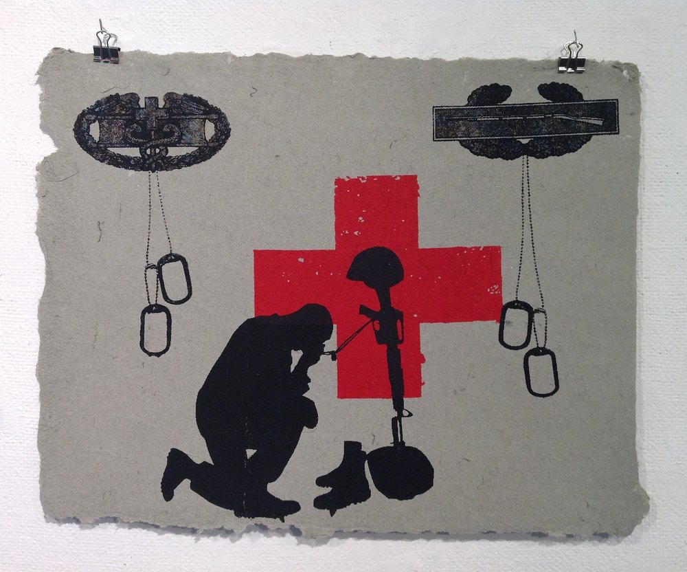 """Medic""    Anonymous    Pulp Print on handmade paper from military uniforms"