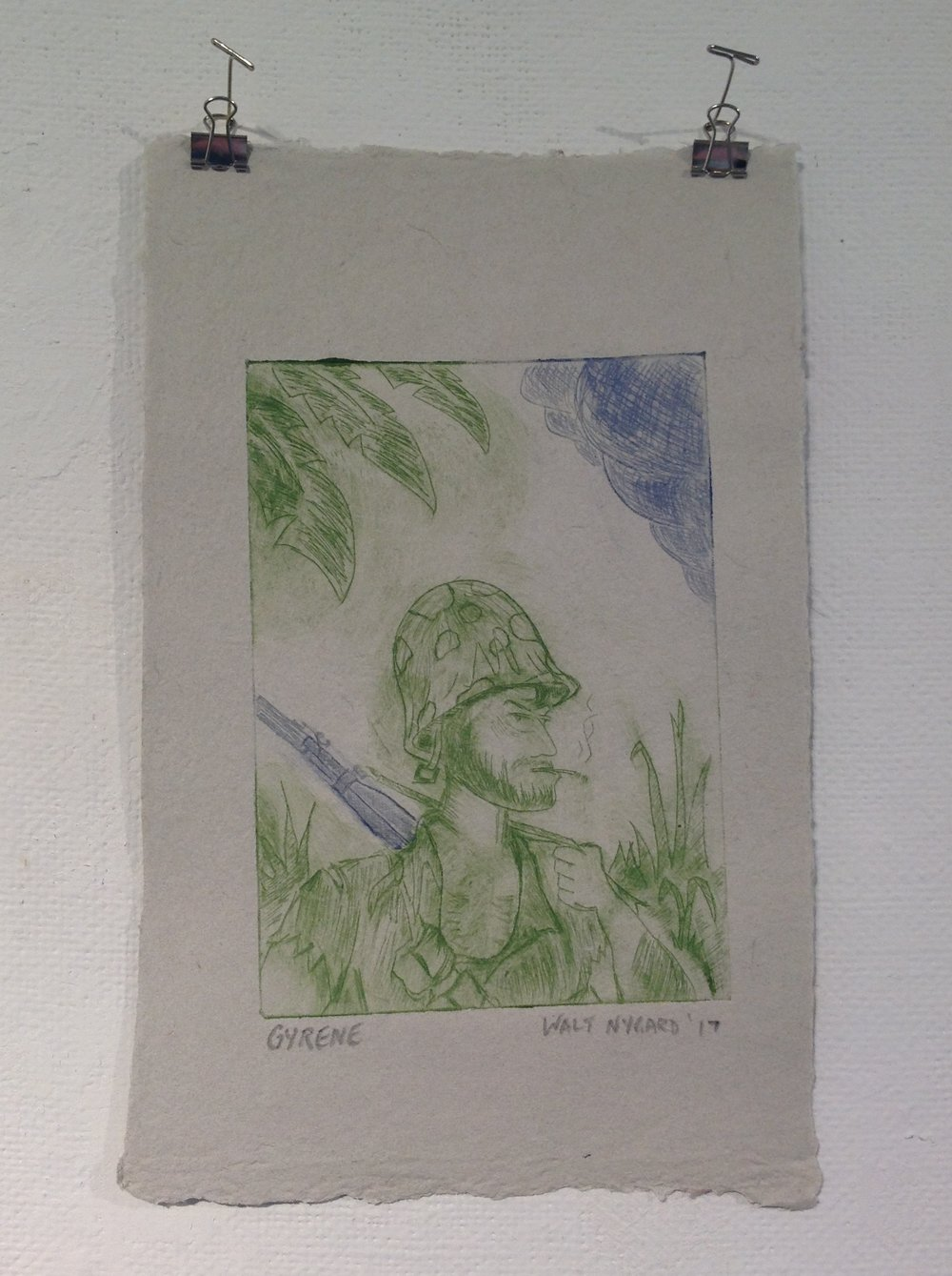 """Gyrene""    Walt Nygard,  2018    Drypoint on handmade paper from military uniforms"