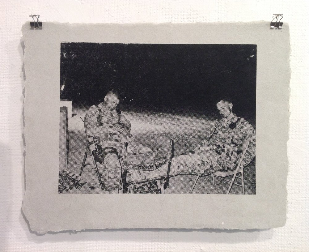 Anonymous    Screen print on handmade paper from military uniforms