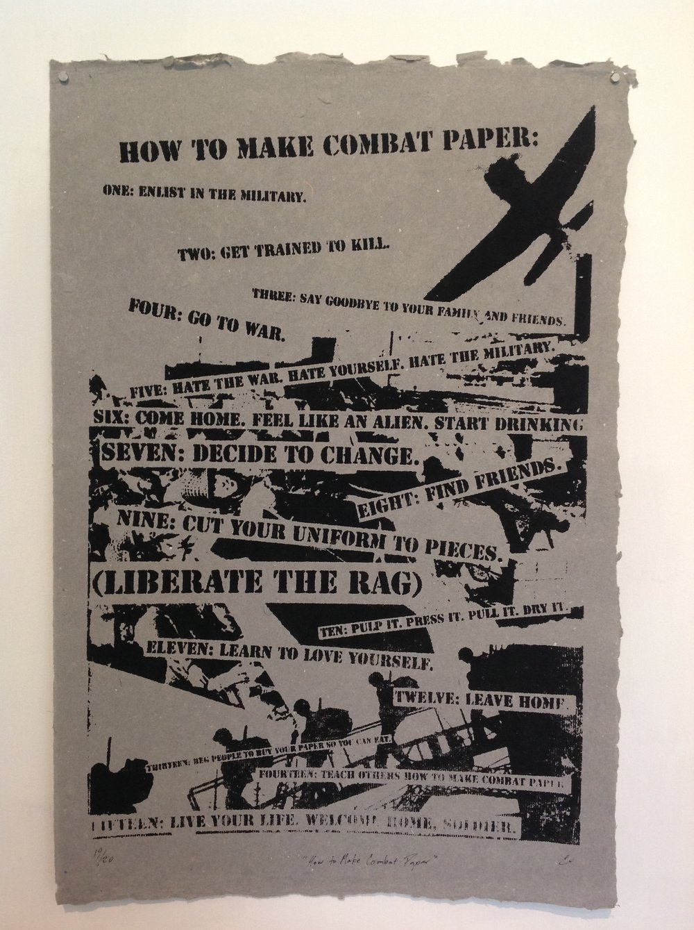 """How To Make Combat Paper""    Chris Arendt, 2010    Screen print on handmade paper from military uniforms"
