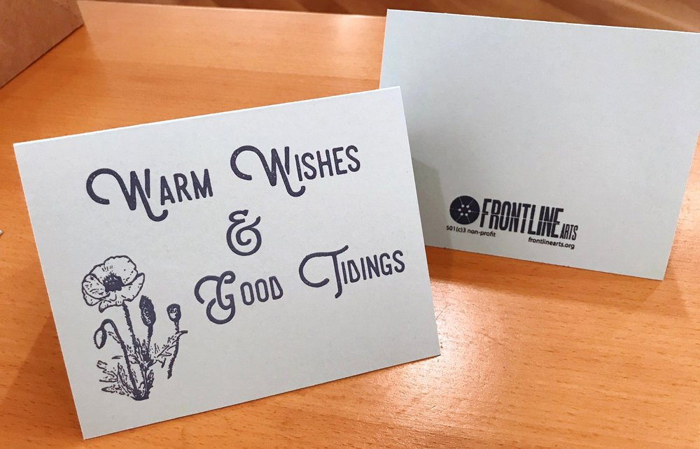 Letterpress Holiday Cards Warm Wishes Good Tidings Frontline Arts
