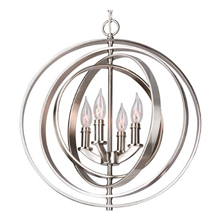 Brushed Nickel Orb Chandelier, Available on Amazon