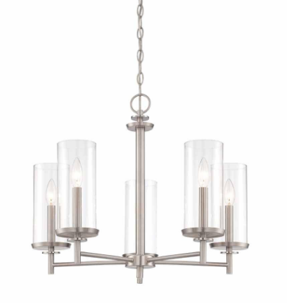 Chain Chandelier with Clear Glass Shades, Available from Home Depot