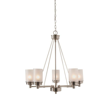 Chandelier with Frosted Glass Shades, Available from Home Depot