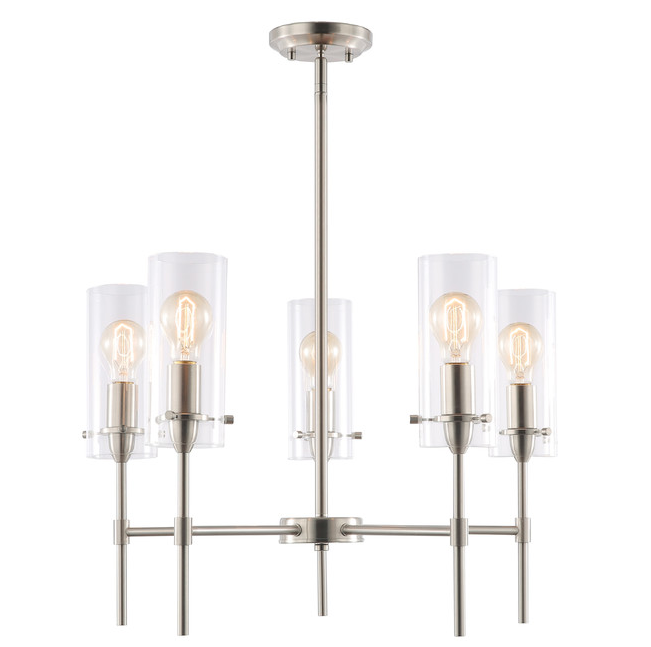 Rod Chandelier with Clear Glass Shades, Available on Houzz