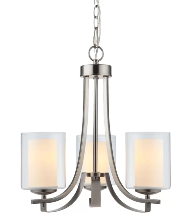 3-light Chandelier with Clear Glass Shades, Available from Birch Lane