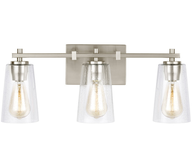 Textured Clear Glass Nickel Vanity Light, Houzz