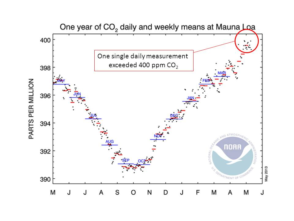 Daily carbon dioxide concentration measurements for the year to May 2013. Daily measurements are shown as black dots, weekly averages as red lines, and monthly averages as blue lines. On May 9th 2013, the daily value exceeded 400 ppm. Click for larger graph: Graphic is from NOAA Mauna Loa Observatory