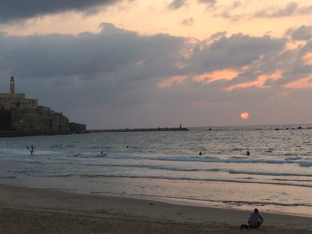 Sun melting into the Mediterranean Sea on our last night in Israel.