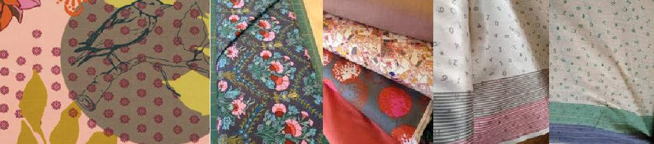 Anna Maria Horner Cotton, Amy Butler Voile, Joel Dewberry + Shot Cottons, Blush Silk, Yellow Cotton Lawn