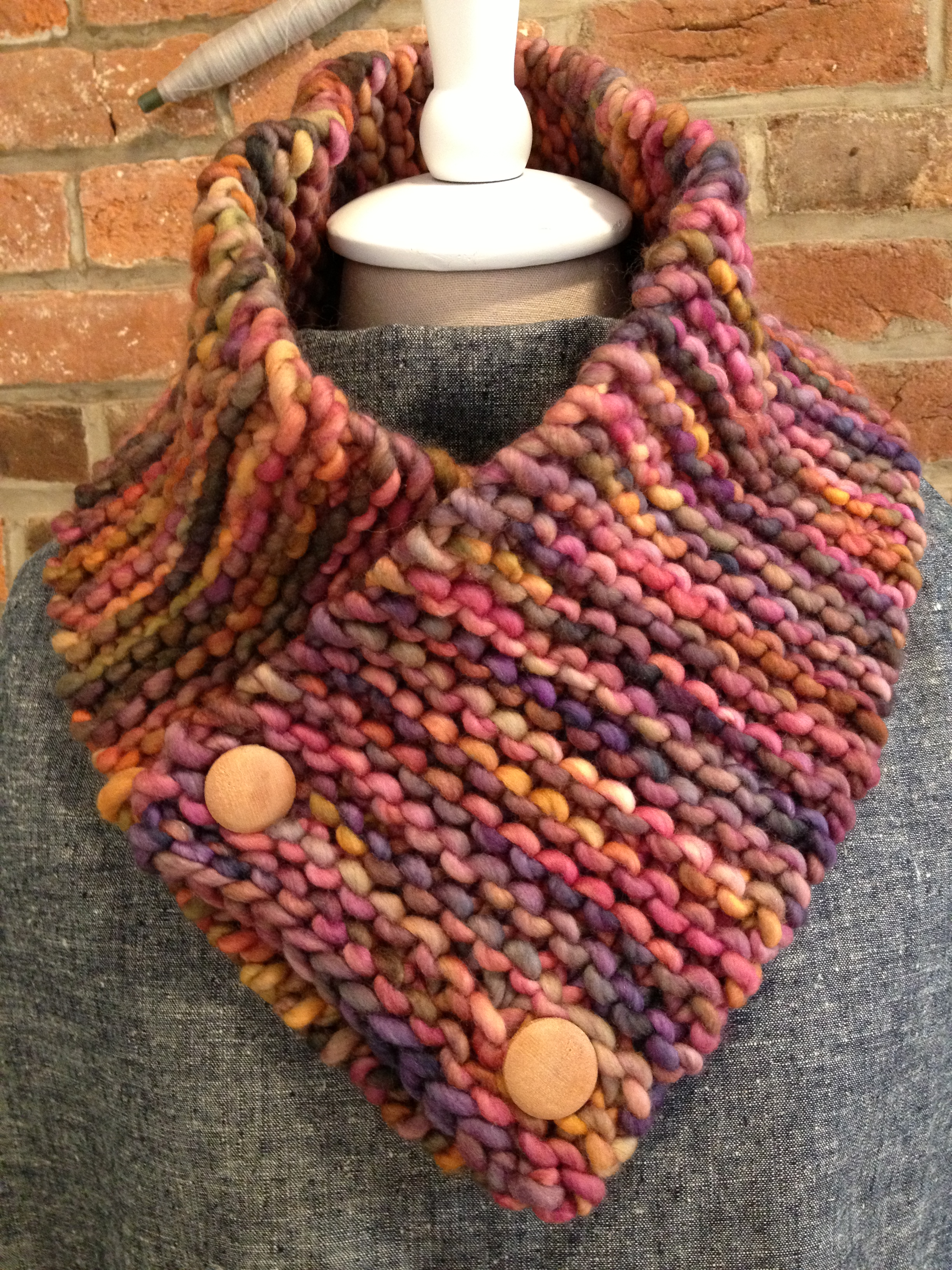 Neckwarmer Class- This is a true beginner class and a great holiday gift idea!  This gorgeous yarn is included!