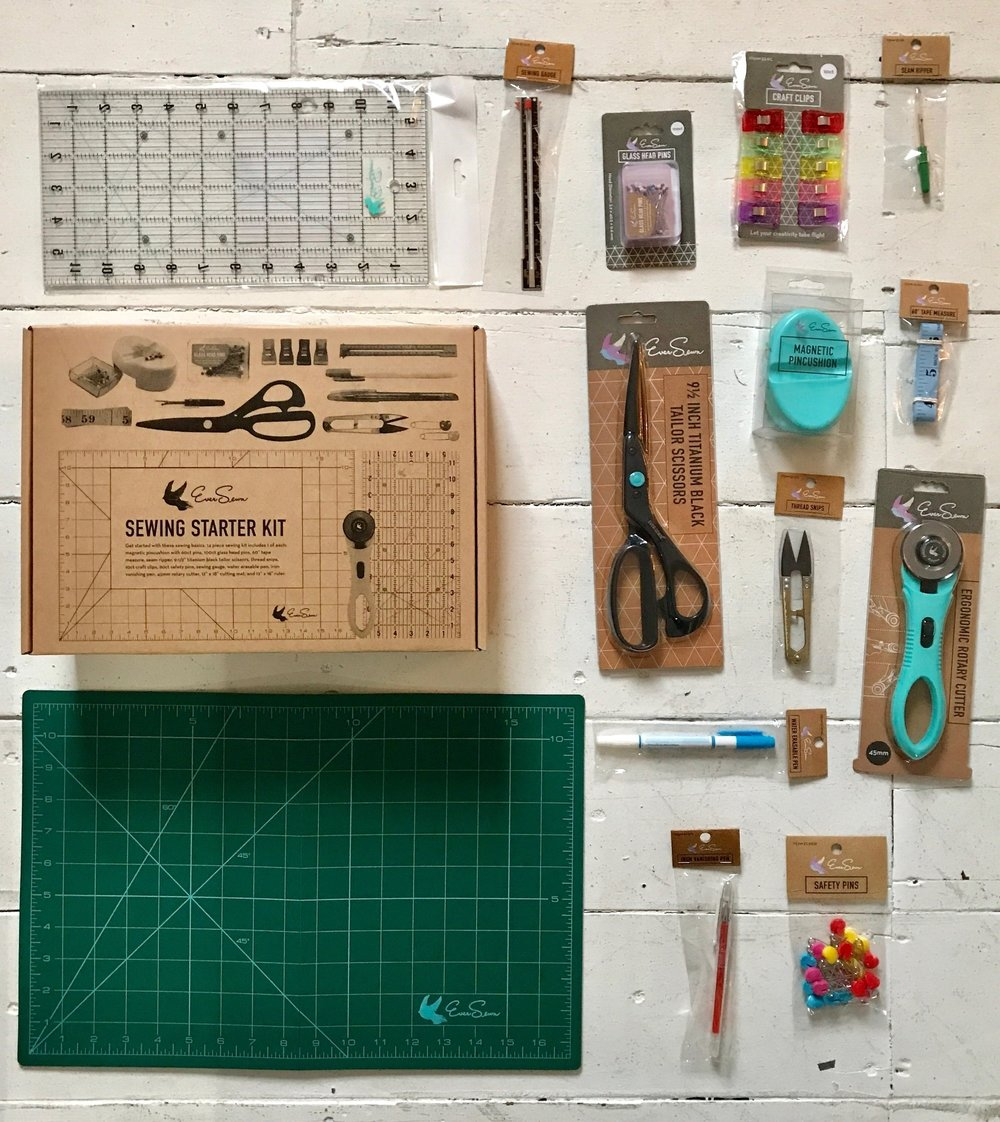 The Finch Take and Make Kit is a perfect gift for beginner sewists! The kit includes: The  School of Sewing  book, thread clippers, sewing gauge, Ezy-Hem Gauge, seam ripper, rotary cutter.