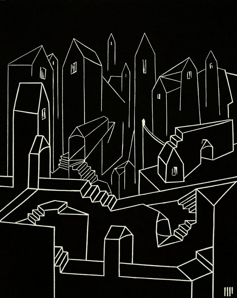 """Castle Walls, linocut on paper, 10x8"""". 2014. Ed. 5"""
