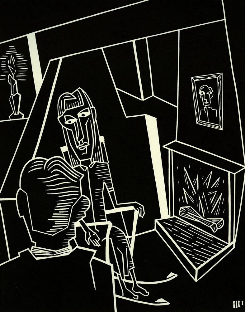 "Gerstäcker's Mother, linocut on paper, 10x8"". 2014. Ed. 5"