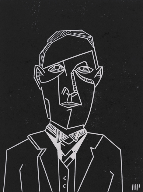 "Portrait of Howard Phillips Lovecraft, 2013, 6x8"" linocut on paper. Edition of 8 + AP"