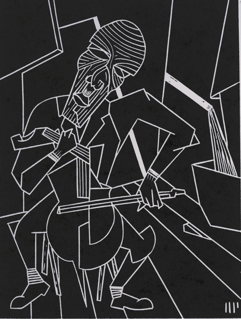"Erich Zann, 2013, 6x8"" linocut on paper. Edition of 8 + AP"