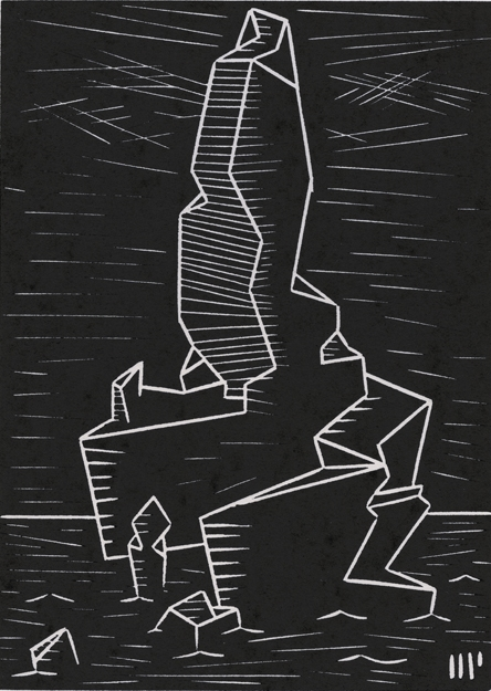 "The Peak of R'lyeh, 2013, 5x7"" linocut on paper. Edition of 8 + AP"