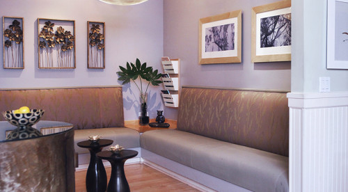Mount View Spa lobby and lounge where guests wait for CoolSculpting