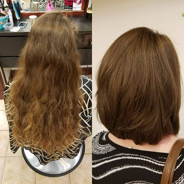 12 inches cut off to donate to charity! Look at the difference!! Awesome cut by Dagna C.