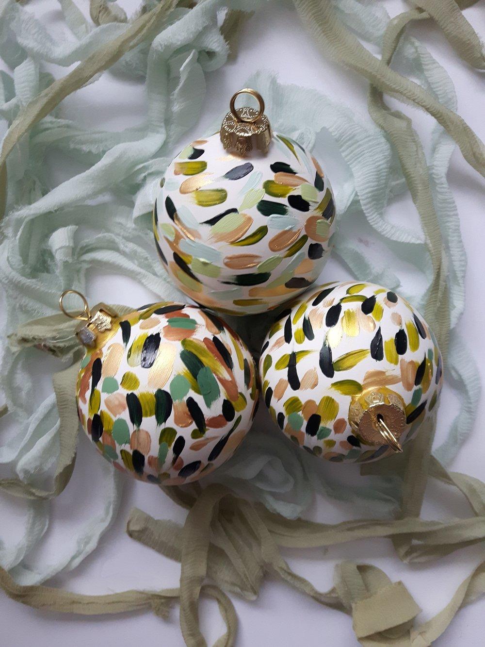 Golden Fir Brushstroke Globe Ornament - $25.00