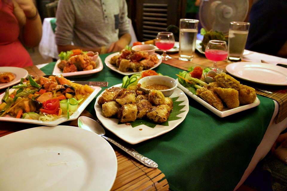 part of our Lao dinner for four...enough food for an army, 2015