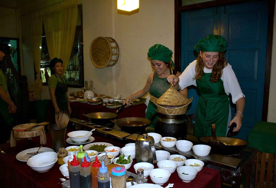 learning to make sticky rice in Laos with Grace, 2015
